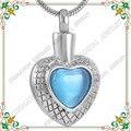 CMJ9176fashion ceniza plata joyas cremación colgante de acero inoxidable para mascotas animales cremación colgante collar de la joyería de piedra de nacimiento