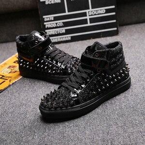 Image 4 - Männer casual bankett prom tragen atmungs niet schuhe persönlichkeit flache plattform schuh freien bühne stiefeletten zapatos hombre