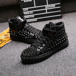 Image 4 - mens casual banquet prom wear breathable rivet shoes personality flat platform shoe outdoors stage ankle boots zapatos hombre