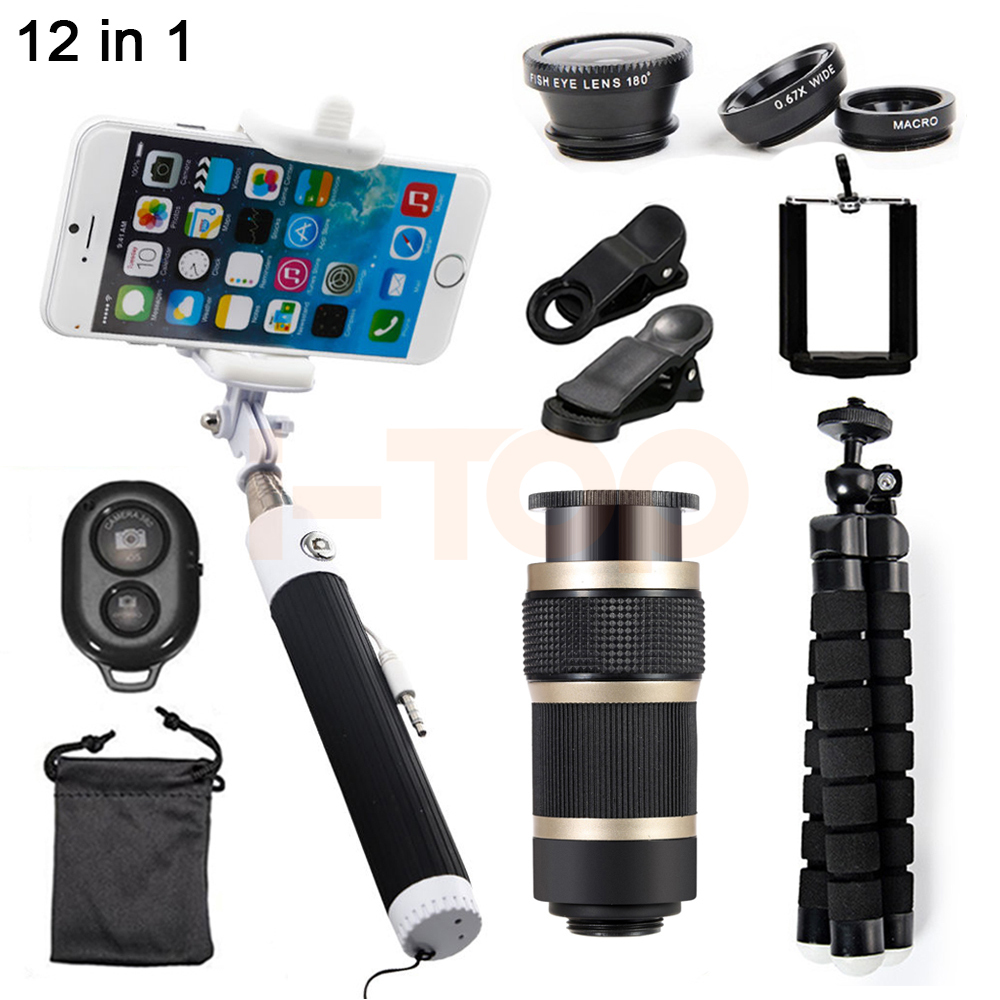 HD 8X Zoom Telephoto Telescopic lens Macro Fisheye Wide Angle Lentes Microscope Phone lenses For HUAWEI