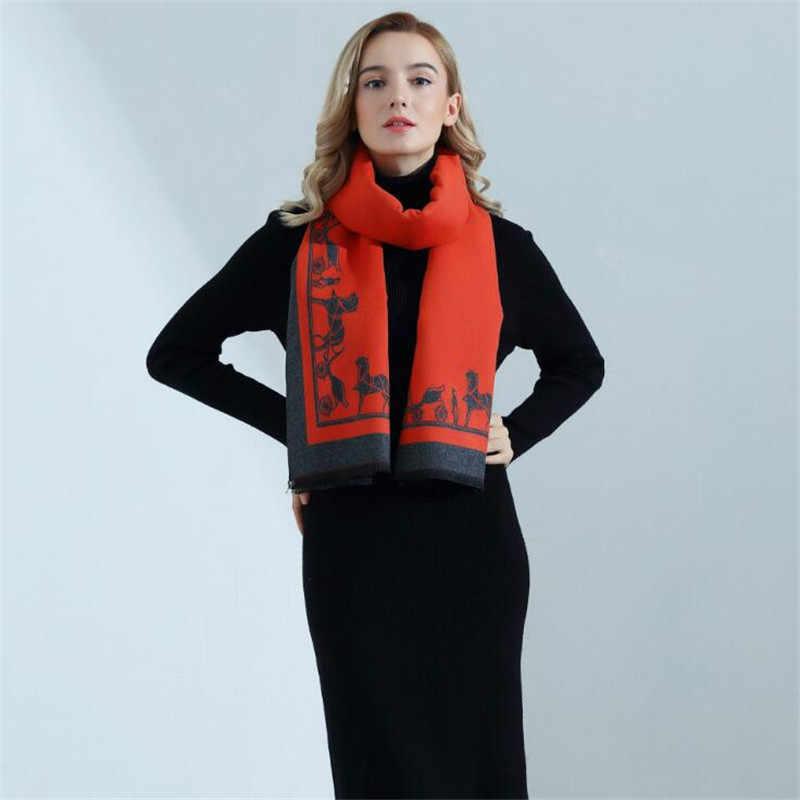 Luxury Brand Cute Bear Scarf Cozy Cashmere Scarves Winter Warm Pashmina Bandana  Shawl Scarf for Women e9d53ef3aec