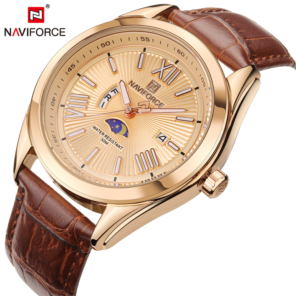 NAVIFORCE Top Luxury Brand Men Quartz Wristwatch Fashion Casual Mens Watches Luminous Hands Waterproof Male Clock Reloj Hombre jedir reloj hombre army quartz watch men brand luxury black leather mens watches fashion casual sport male clock men wristwatch