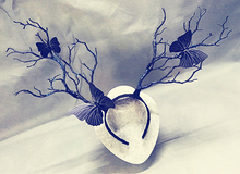 Handmade Tree Branches Butterfly  Headband Halloween Cosplay Prop vintage Hair Accessories Gothic