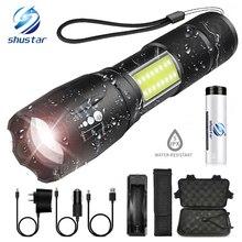 Linterna LED súper brillante con luz lateral COB, 4 modos de iluminación, resistente al agua, para camping, aventura, conducción nocturna