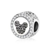 Fits Original Pandora Charms Bracelet 925 Silver Color Black Zircon Beads Mickey Charm Bead Jewelry Making