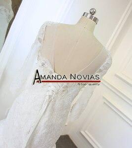 Image 5 - Новый дизайн, свадебное платье с длинным рукавом и вырезом из бисера, кружевное, Русалка, настоящее Аманда, новинка 2019