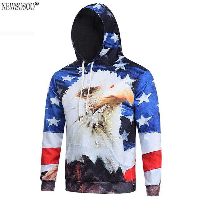 Newsosoo 2017 fashoin American Eagle Flag hooded Sweatshirt men new Spring drawstring hoodies svitshot jersey con capucha H38
