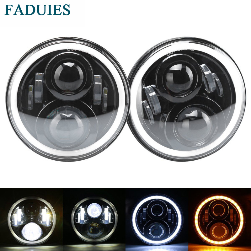 FADUIES 1Pair 7Inch LED Headlight With White Halo Ring Angel Eyes+Amber Turning Signal For Jeep Wrangler JK TJ CJ Led Headlamp faduies 7 inch round led headlights white halo ring angel eyes amber turning signal lights for jeep wrangler jk tj cj