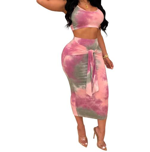 Summer Sexy Two Piece Set Women Two Piece Outfits Top And Skirt Set Bodycon Vest Maxi Dress Bodycon Party 2 Piece Set