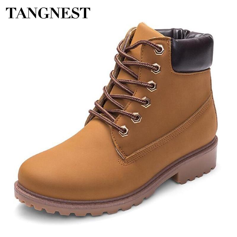 Tangnest新しい2018女性のブーツファッションPUレザーパッチワークアンクルブーツカジュアルラバーブーツ女性プラットフォームシューズサイズ36〜41 XWX 4234