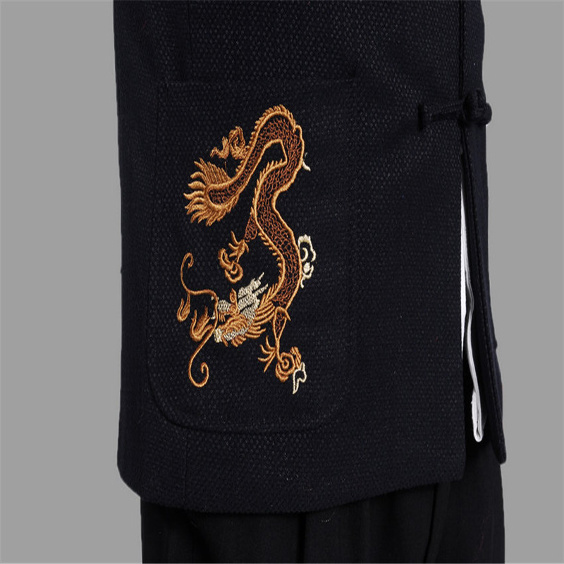 Linen Coats Men Long Sleeve Dragons Printed Brand Bomber Jackets Mens Stand Collar Embroidery Outwear Fragrant Flavor In