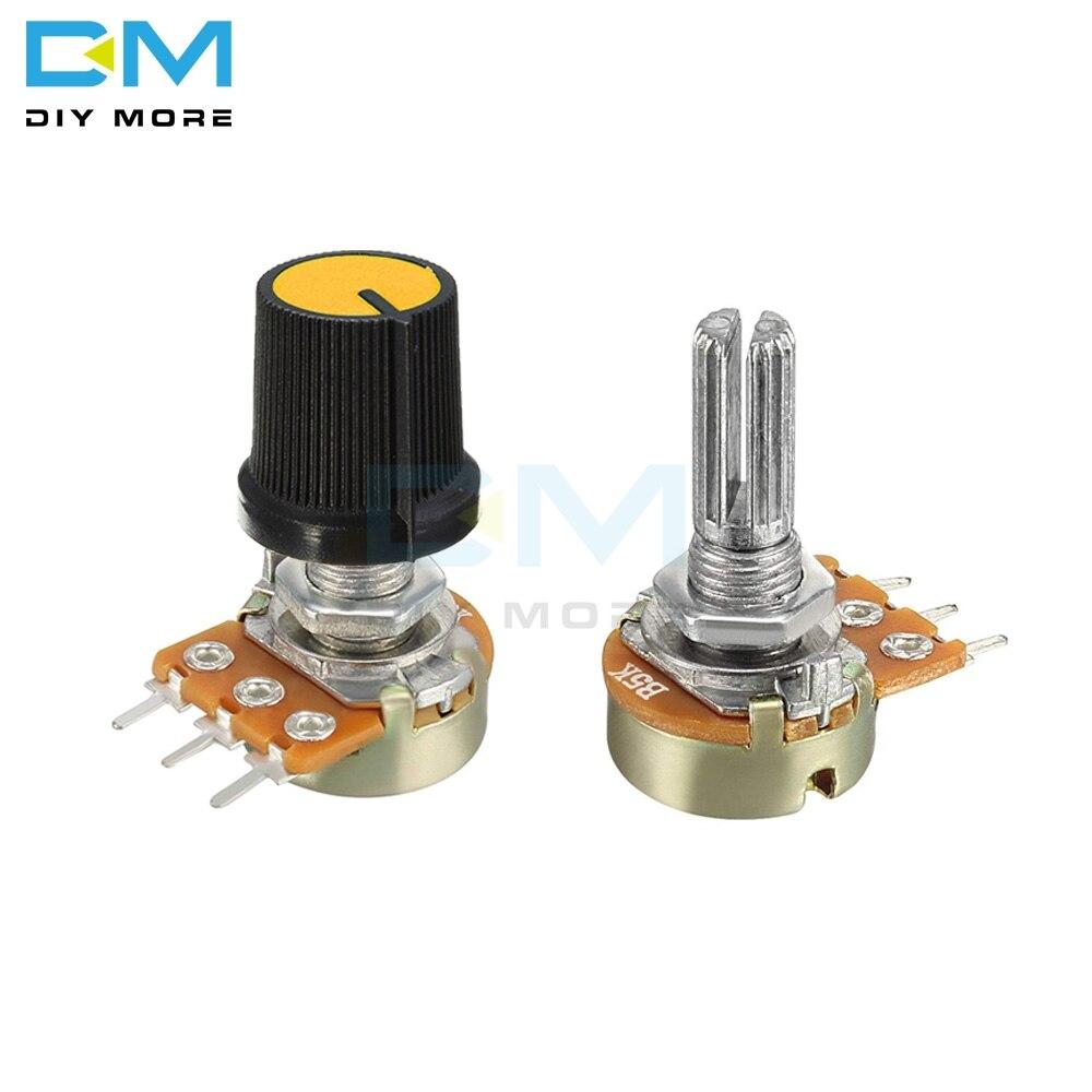 5 шт./партия, 1K 2K 5K B10K 20K B50K 100K 250K 500K 1M Ом, резистор потенциометра, линейный конический роторный потенциометр с крышкой