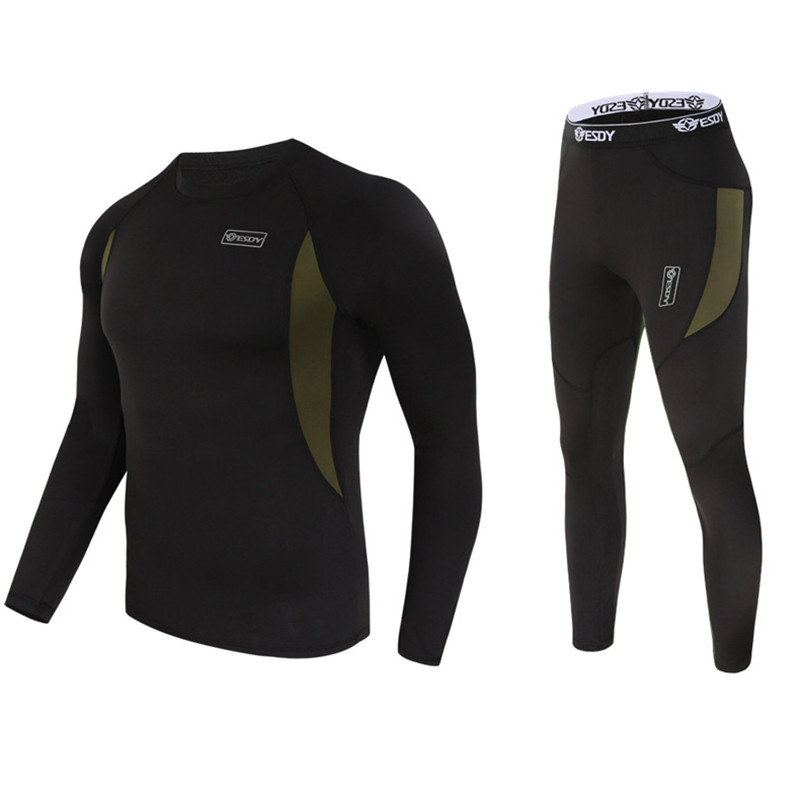 Top quality new thermal underwear men underwear sets compression fleece sweat quick drying thermo underwear men clothing S-3XL