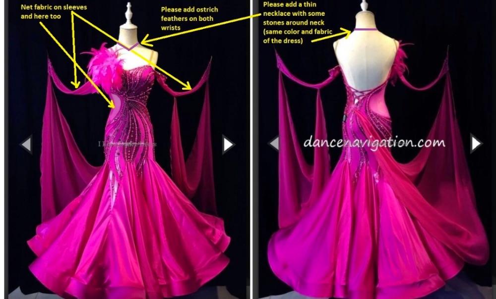 Client sur mesure robe de bal Moderne Valse Standaard Concurrentie Strass Jurk.. sociale de danse robe