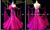 Customer custom made ballroom dress Moderne Waltz Standaard Concurrentie Strass Jurk. . sociale dance dress