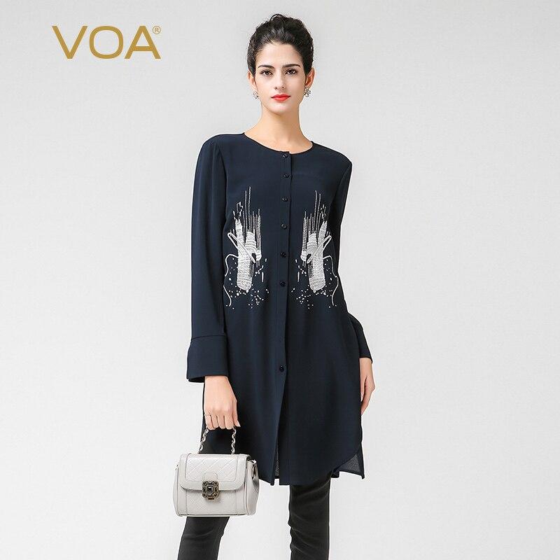 VOA вышивка тяжелый шелковая блузка плюс Размеры 5XL Для женщин топы краткое сплошной Темно синие офисная рубашка Повседневное с длинным рука