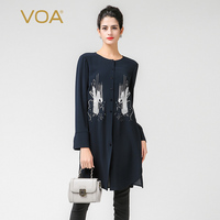 VOA Embroidery Heavy Silk Blouse Plus Size 5XL Women Tops Brief Solid Navy Blue Office Shirt Casual Long Sleeve Spring B7210