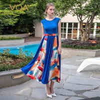 VOA 2017 Summer Knit Silk Blue Casual Vintage Long Tees Dress High Waist O Neck Elegant