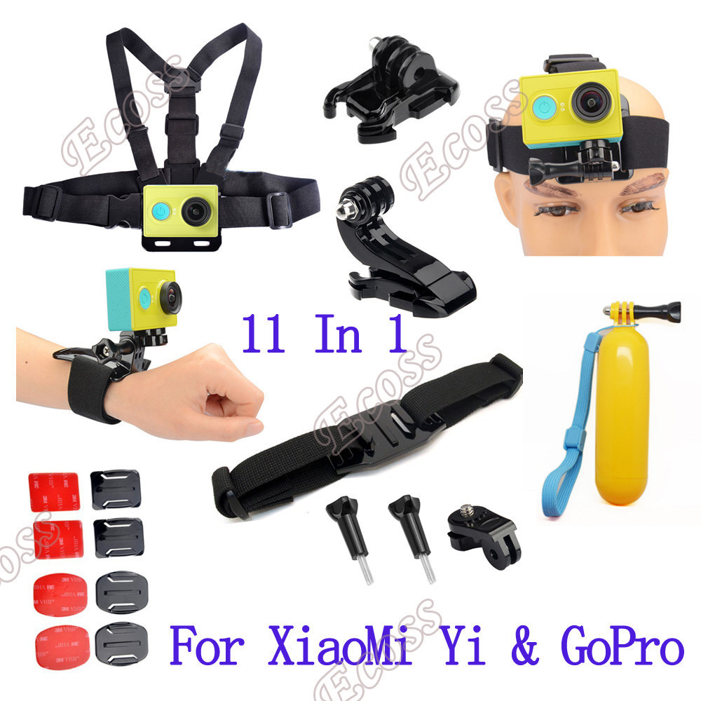 Prix pour Xiaomi yi accessoires set action caméra Xiaomi yi ensemble bobber bâton casque strap mount Adapter pour GoPro et Sport caméra Xiaomi yi