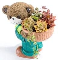 Характеристики большого калибра маленький медведь цветочные горшки для суккулентных растений Смола вилла Садоводство украшения ключевой