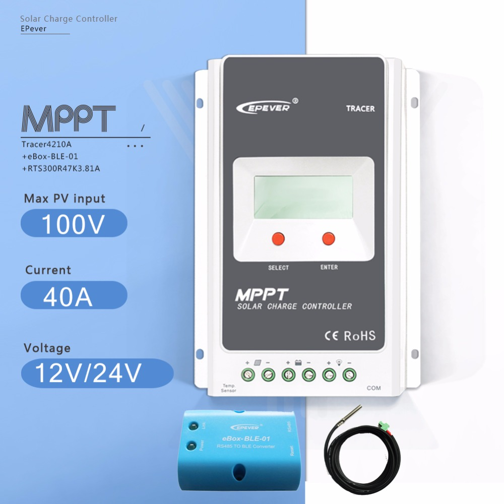 MPPT 40A Tracer 4210AN Solar Charge Controller 12V/24V Auto Solar Battery Charge Regulator with Ebox BLE and Temperature Sensor