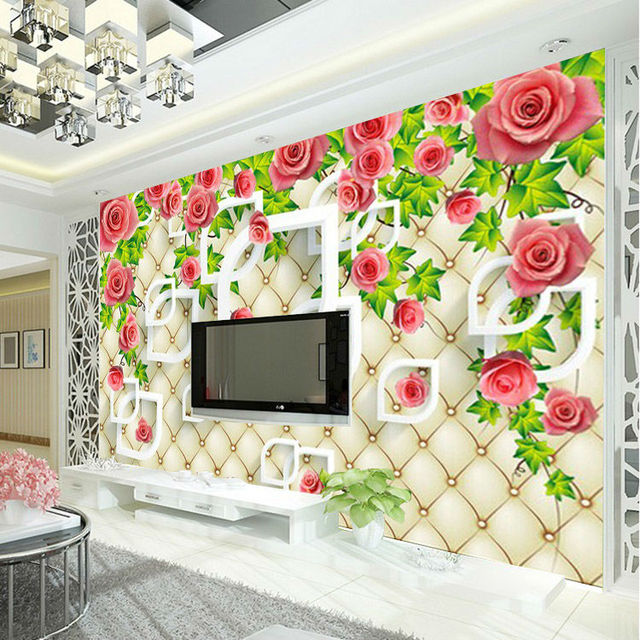 romantic rose photo wallpaper 3d wallpaper bedroom ceiling kid room decor club wedding home decoration fashion - Room Decor 3d