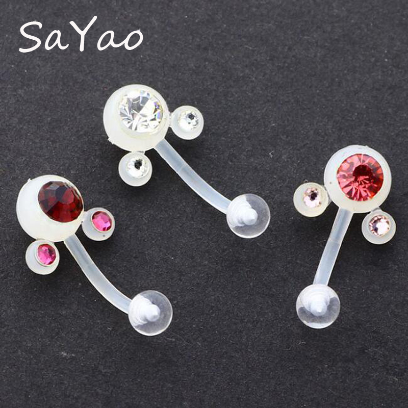 Sayao 1piece Bioplast Navel Ring Soft Clear Flexible Sexy Belly Ring Belly Button Rings Body Piercing Jewelry