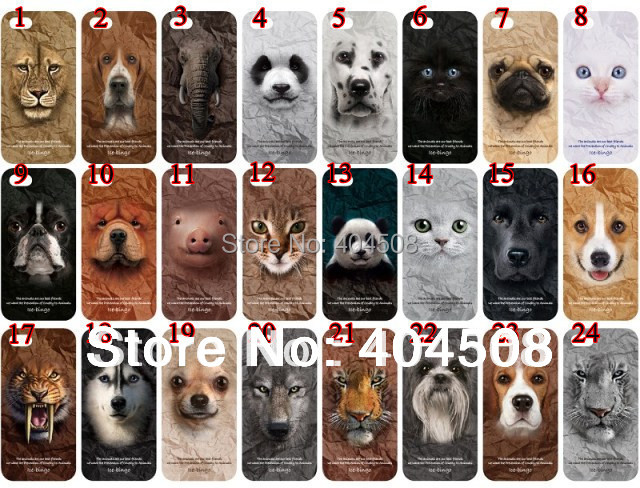 new arrival cute lion dog cat pig leopard tiger panda wolf plastic hard back shell for iphone 4 4S animal cell phone mobile case
