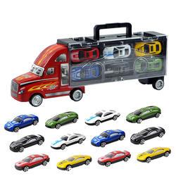 Портативный контейнеровоз литая модель машины контейнеровоз с 12 шт. маленький автомобиль игрушки набор для детей
