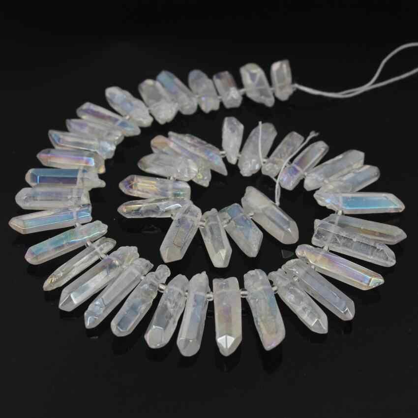 Full Strand Titanium Mystic Crystal Agate Necklaces For Women Waterdropteardrop Crystal Geode Gem Stone Quartz Pendant Necklace