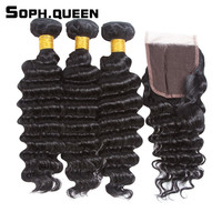 Soph Queen Hair Brazilian Deep Wave 3 Bundles With Closure Remy Human Hair Weave Cabelo Pelo