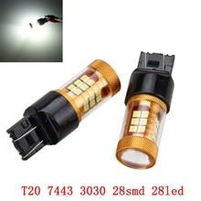 цена на 2Pcs 12V 24V T20 7444 7443 LED 3030 28 SMD LED Turn Signal Reversing Brake Light