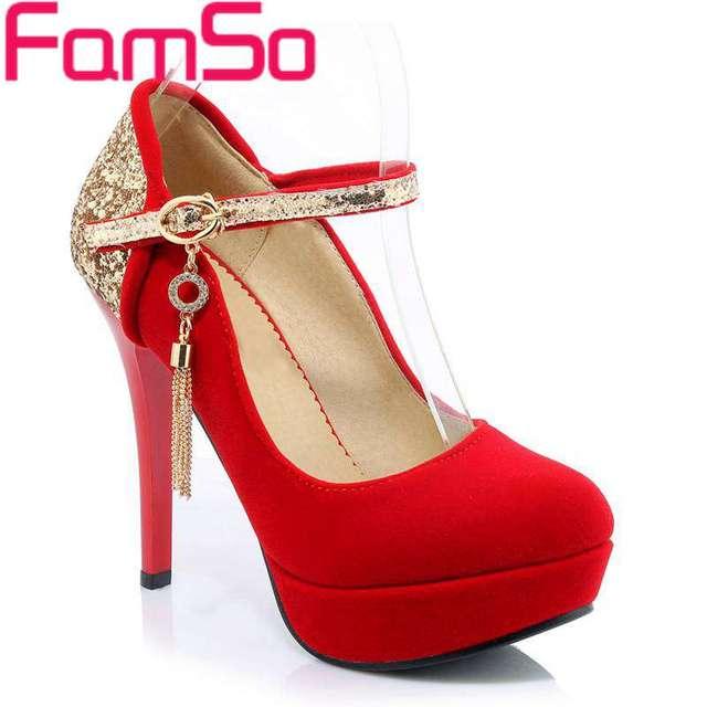 Bombas envío gratis 2017 Mujeres del Otoño negro rojo Mujer bombas Del Brillo Del Oro zapatos de tacón alto de La Boda Solos Zapatos Bombas de Las Mujeres PS1539