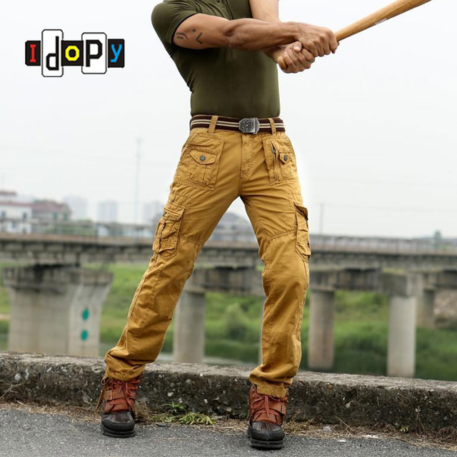 High Quality Men`s Cargo Pants Multi Pockets Baggy Loose Fit Military Style Trousers For Male
