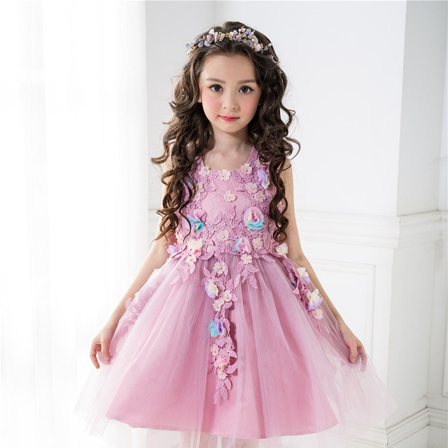 Kids Girls Flower Dress Baby Girl Butterfly Birthday Party Dresses