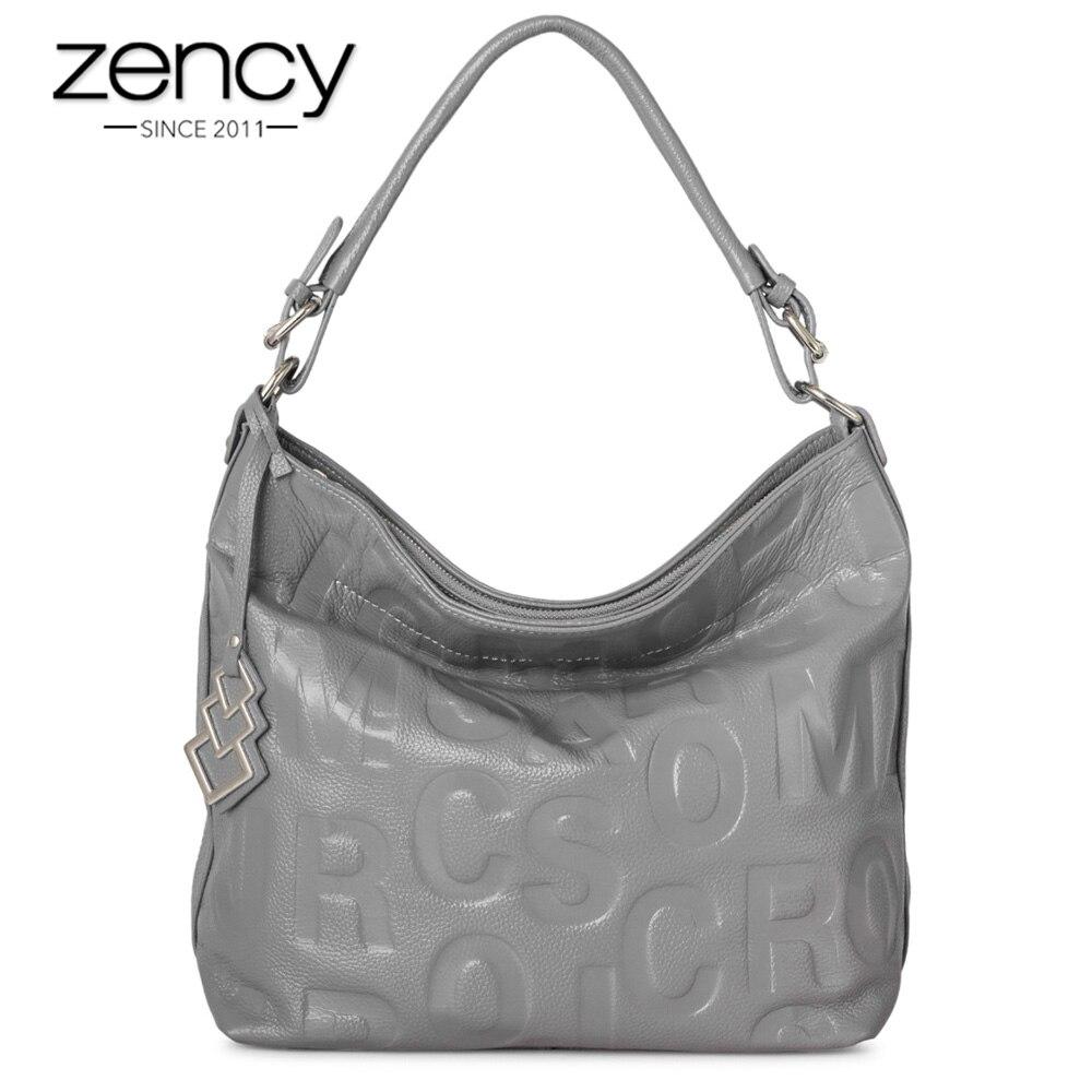Zency очаровательные элегантные фиолетовые Для женщин сумка 100% натуральная кожа Hobos повелительницы сумка Кроссбоди большой Ёмкость