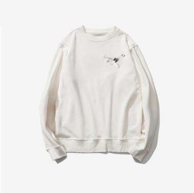 New Spring Autumn Original Chinese Style Men's Hoodies Crane Embroidery Plus Velvet Turtleneck Leisure Thickened Sweatshirts