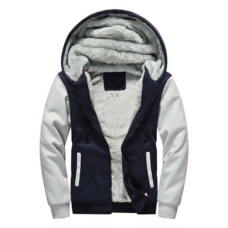 5XL Winter Thick Velvet Men Hoodie Sweatshirt Men Sportswear Zipper Fleece Lined Jacket Mens Warm Tracksuit Hooded Coat Moleton
