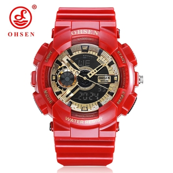 2018 NEW OHSEN Digital Quartz Sport Mens Wristwatch Gift 50M Waterproof Led Diving Military Red Silicone Wach relogio masculino image