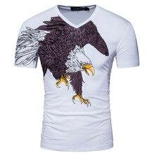 New Arrive Men Short Sleeve V Neck Print Eagle High Quality T Shirt Summer Fashion White Black Slim Cotton Coasual T Shirt D051