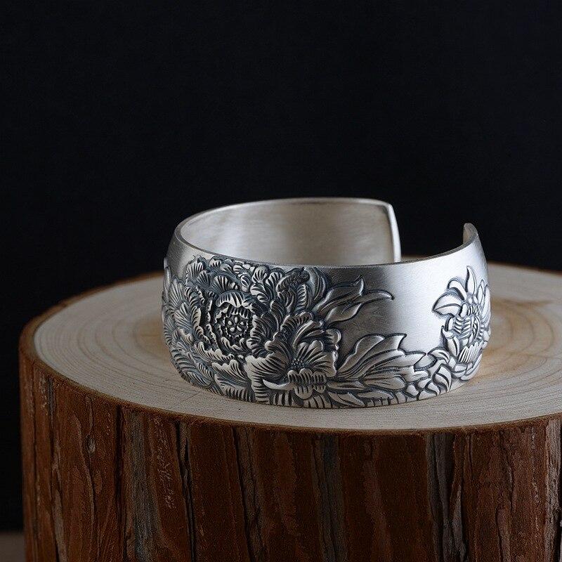 Новинка 925 серебряные ювелирные изделия из стерлингового серебра Пион цветок Широкие незамкнутные браслеты манжеты для женщин