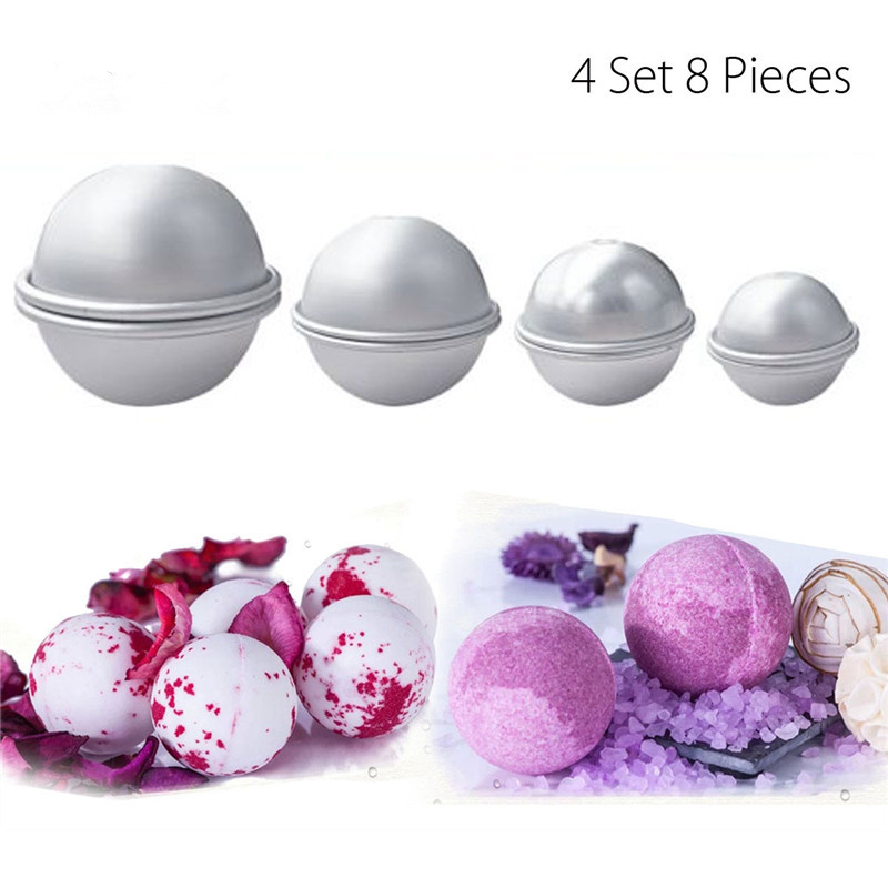 8Pcs 4.4/5.5/6.5/8CM 3D Aluminum Alloy Bath Bombs Mold Set Bath Salt Bomb Mold Ball Sphere Shape DIY Bathing Tool Accessories