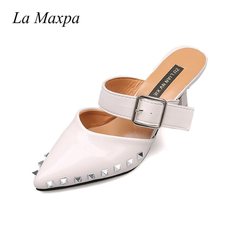 La MaxPa Brand 2018 Fashion Rivet Strap Leather Slides Woman Shoes Point Toe Flat Girls Slippers Loafers 6cm Mules Flip Flops