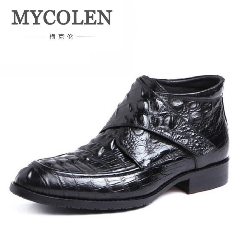 MYCOLEN Leather Men Ankle Boots Crocodile Round Toe Mens Dress Shoes Rivet High Top Military Cowboy Boots Man Black Footwear wool felt cowboy hat stetson black 50cm