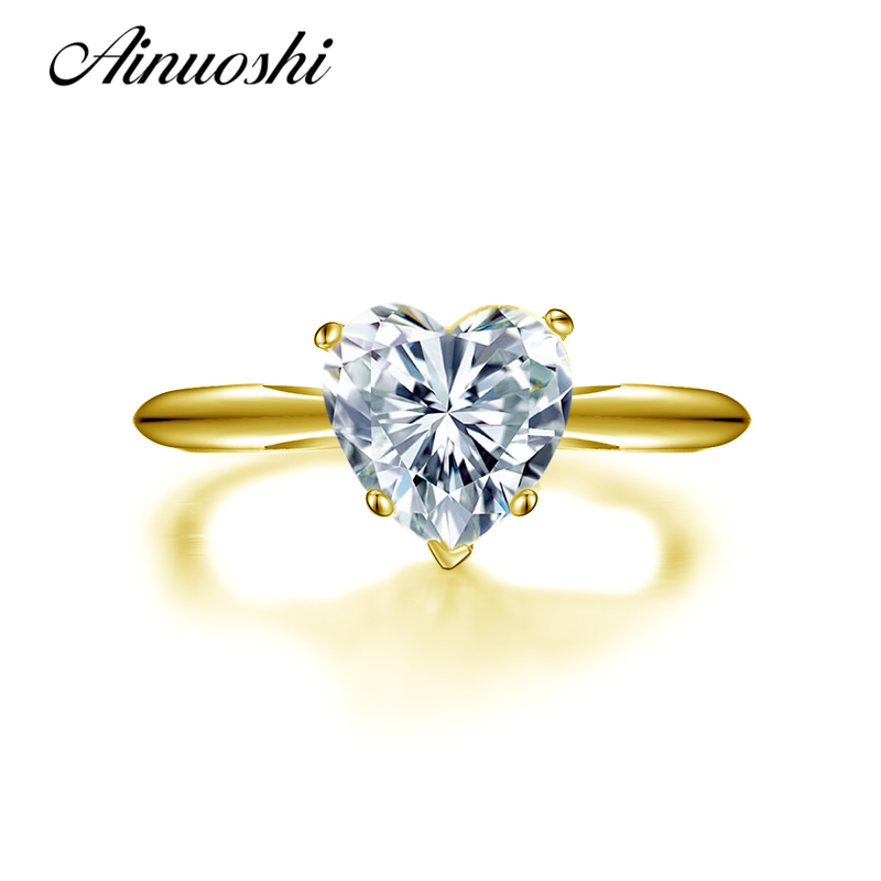 AINUOSHI 10k Solid Yellow Gold Wedding Ring 2 Carat Heart Shape Solitaire Simulated Diamond Lovers Proposal Anillos Women Rings ainuoshi 10k solid yellow gold wedding ring 1 25 ct solitaire simulated diamond anelli donna brilliant proposal rings for women