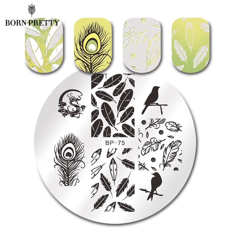 BORN PRETTY Birds dragón pluma Nail Art sello plantilla foto placa ...
