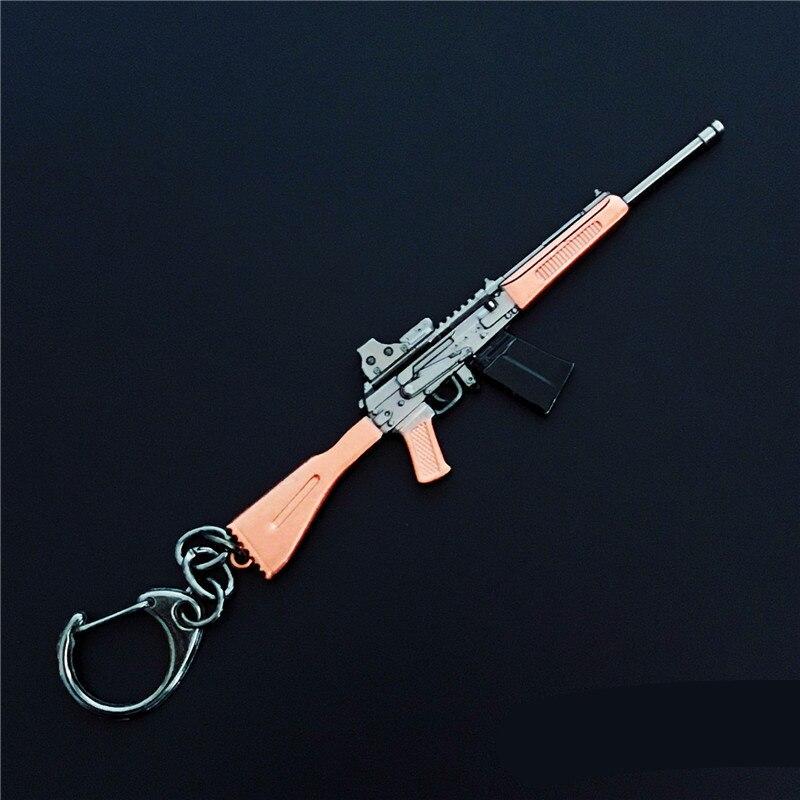 11pcs/set Game Toy FPS Playerunknowns Battlefields Keychain Rifle 98KAWM PUBG Metal Pendant Jewelry Gun Ornaments L1776