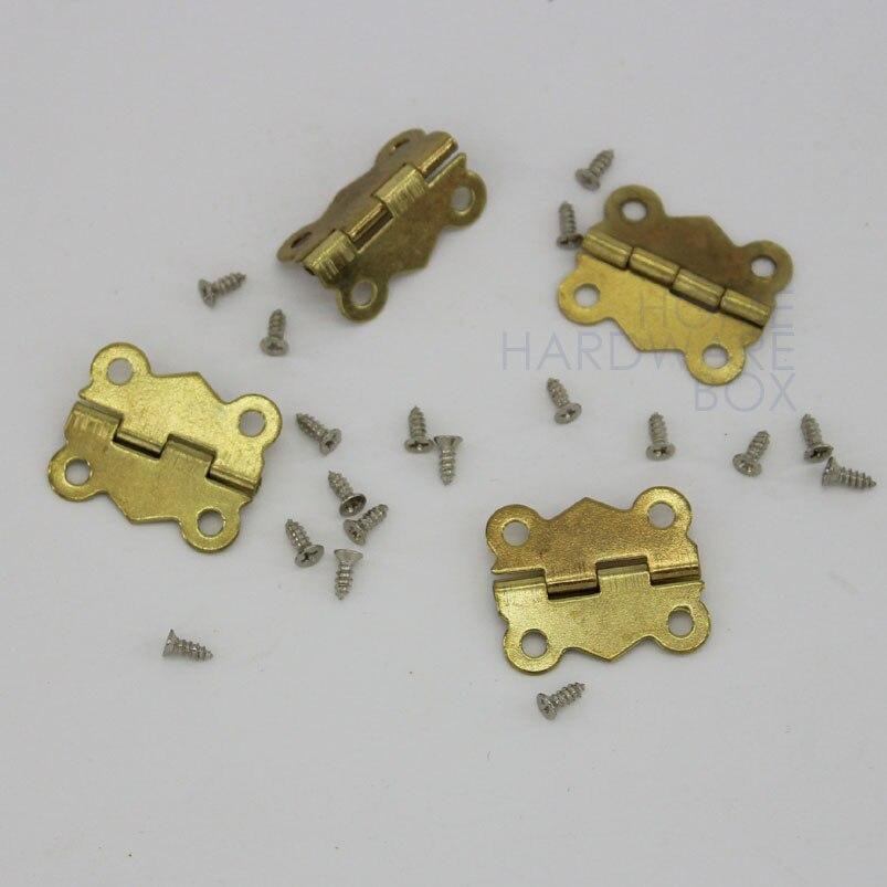 Messingüberzogen Mini Scharnier Antike Bronze Dekor Schmuck Holzkiste Schrank ZG