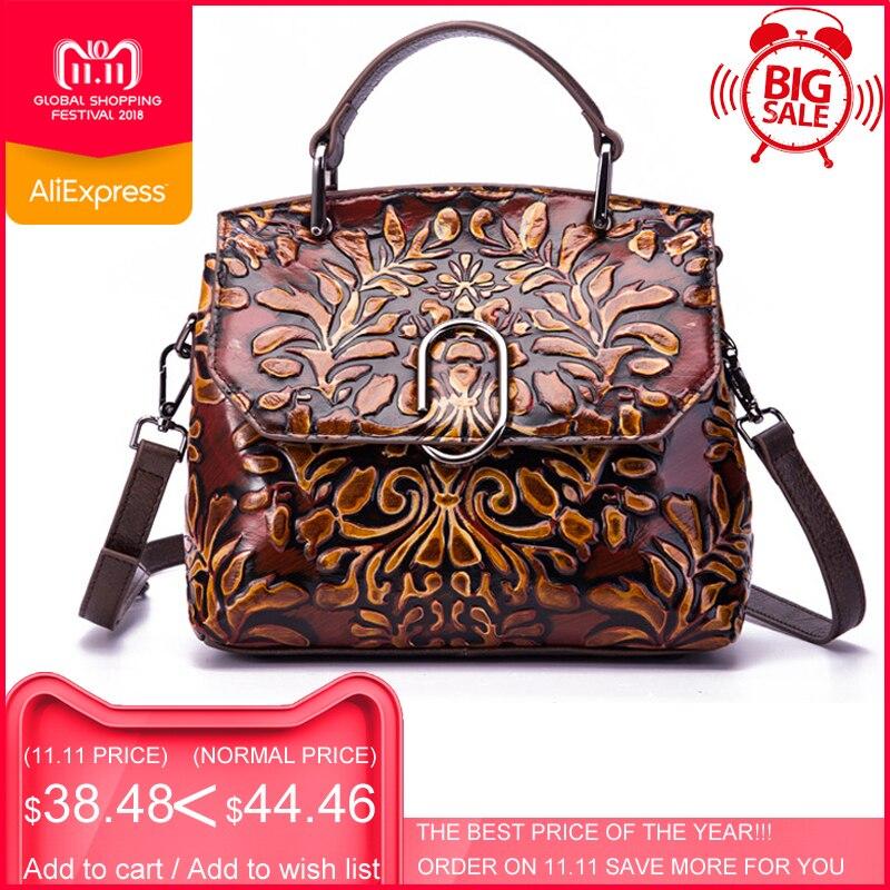 цены на New Arrival ESUFEIR Genuine Leather Luxury Handbags Women Shoulder Bags Designer Vintage Messenger Bag Brand Women Crossbody Bag в интернет-магазинах