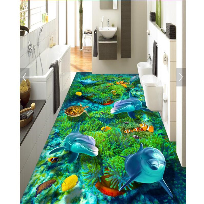 beibehang painting HD Sea World dolphin coral biota Waterproof Bathroom kitchen PVC Wall paper Self wall sticker Floor mural ada phantom 2d